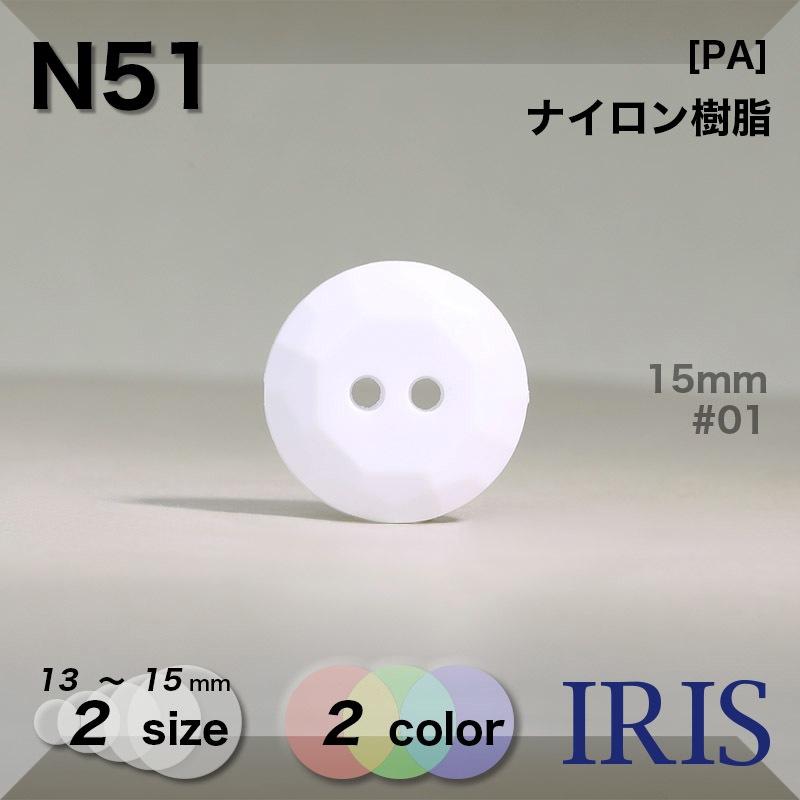 N51 ナイロン樹脂 表穴2つ穴ボタン  2サイズ2色展開