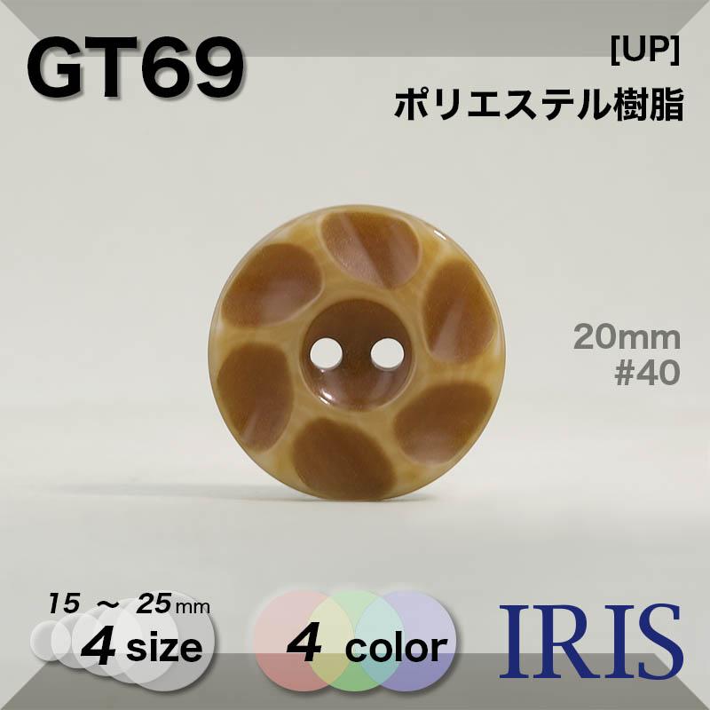 GT69 ポリエステル樹脂 表穴2つ穴ボタン  4サイズ4色展開