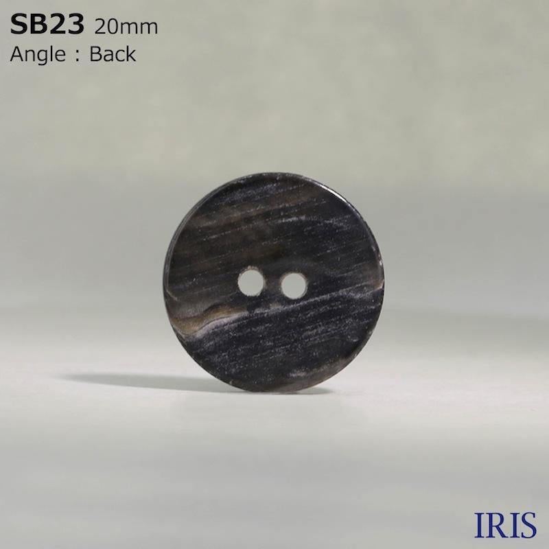 SB23 黒蝶貝 表穴2つ穴ボタン  9サイズ1色展開
