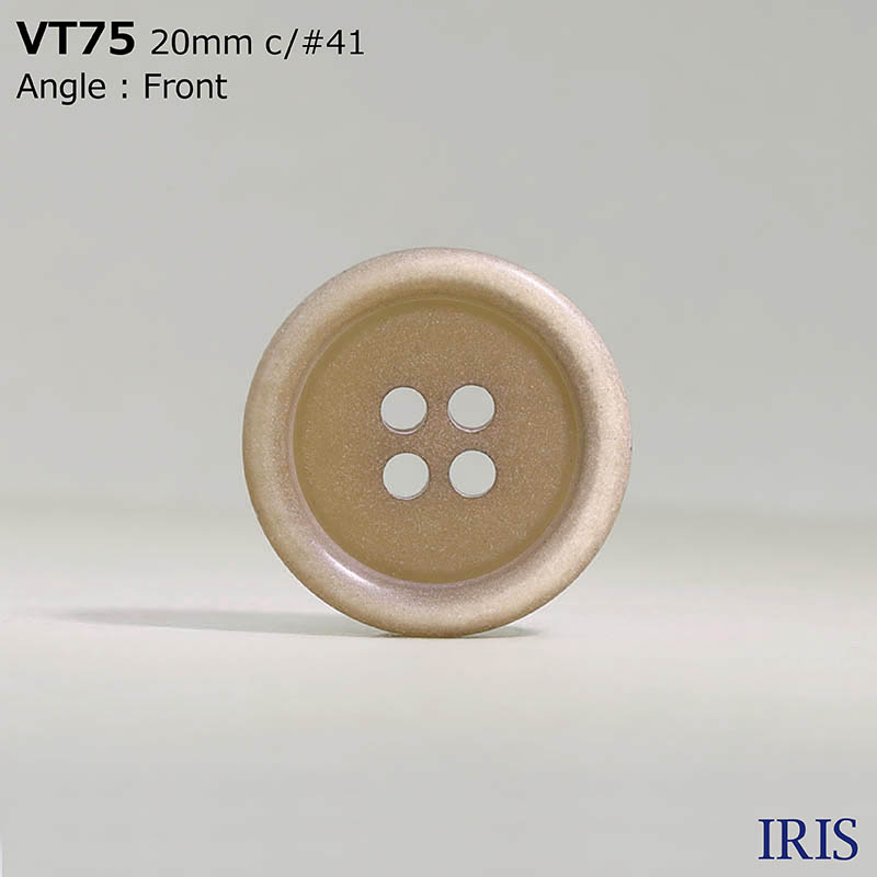 VT75 ポリエステル樹脂 表穴4つ穴ボタン  5サイズ7色展開