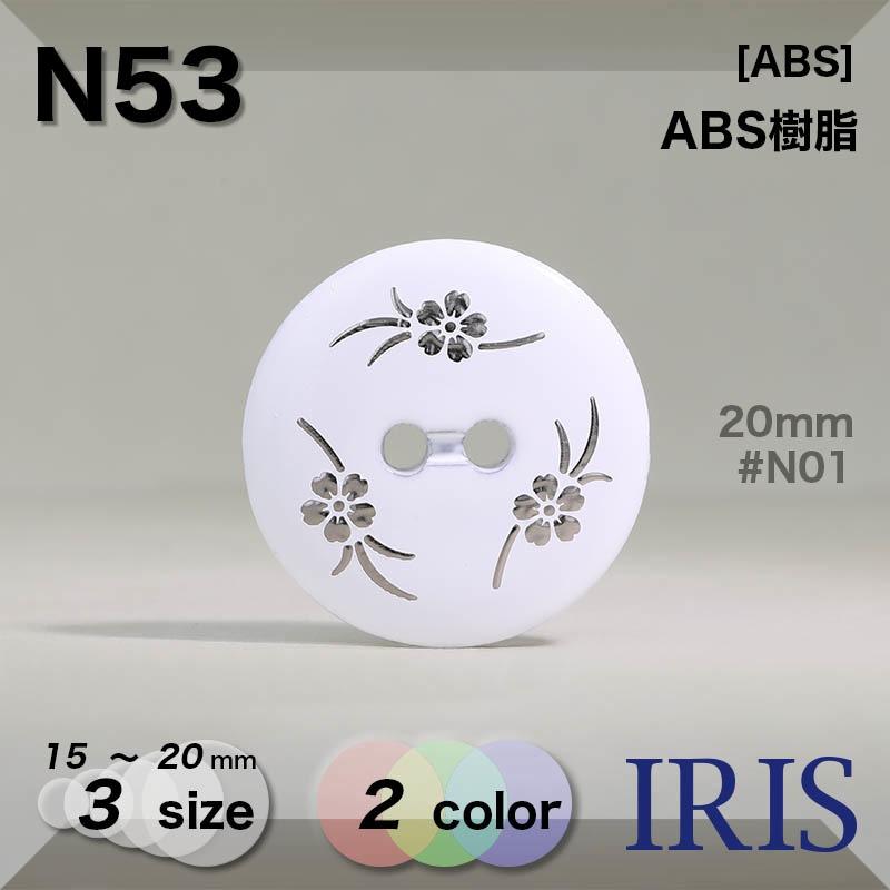 N53 ABS樹脂 表穴2つ穴ボタン  3サイズ2色展開