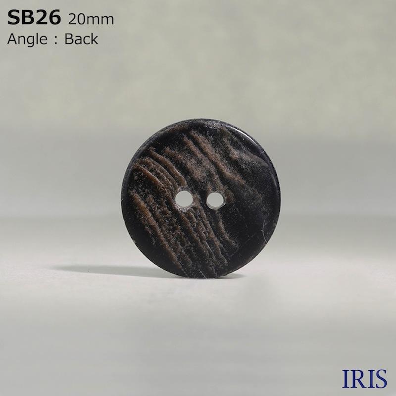 SB26 黒蝶貝 表穴2つ穴ボタン  11サイズ1色展開