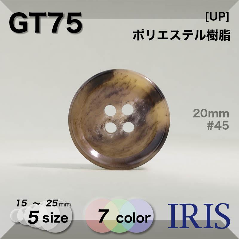 GT75 ポリエステル樹脂 表穴4つ穴ボタン  5サイズ7色展開