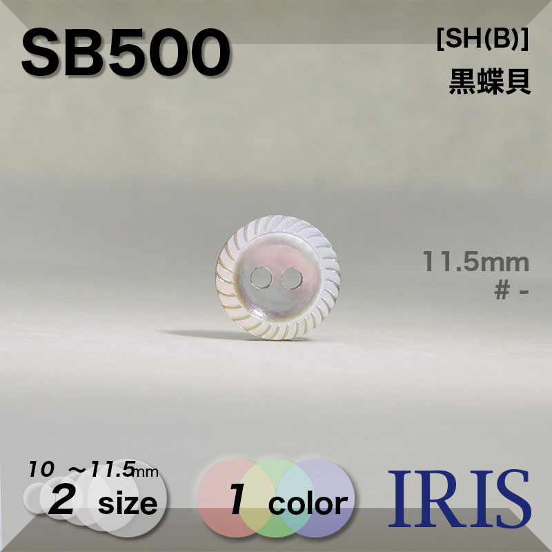 SB500 黒蝶貝 表穴2つ穴ボタン  2サイズ1色展開