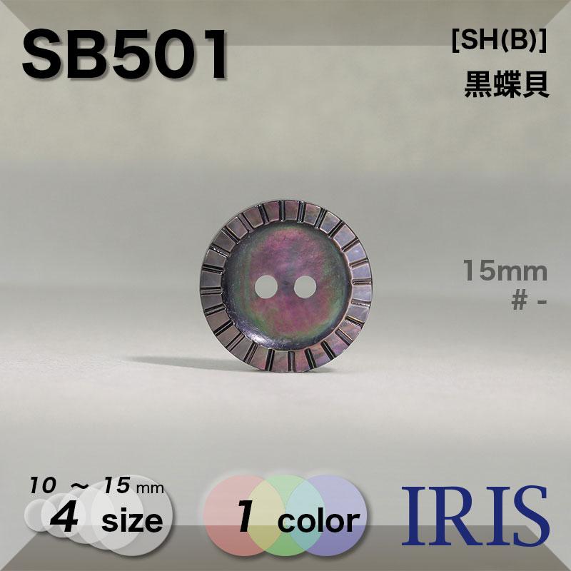 SB501 黒蝶貝 表穴2つ穴ボタン  4サイズ1色展開