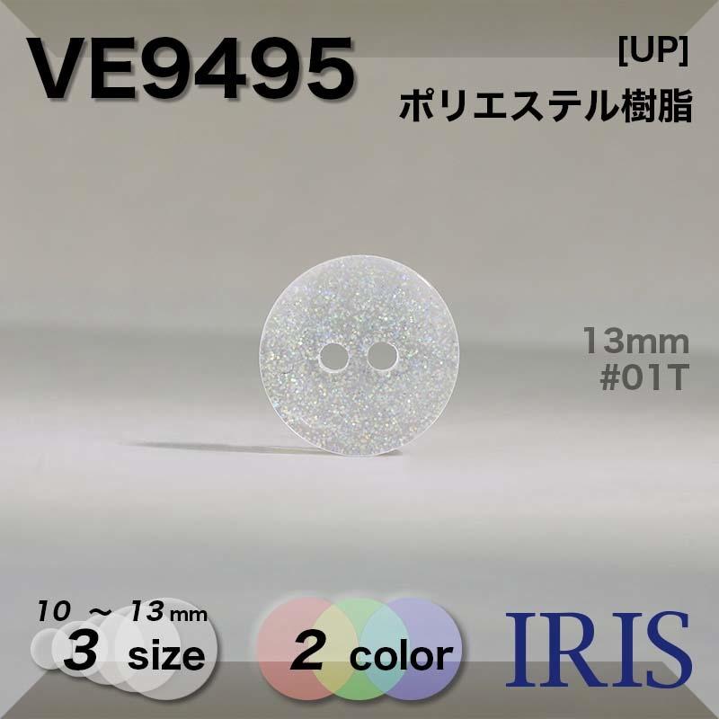 VE9495 ポリエステル樹脂 表穴2つ穴ボタン  3サイズ2色展開