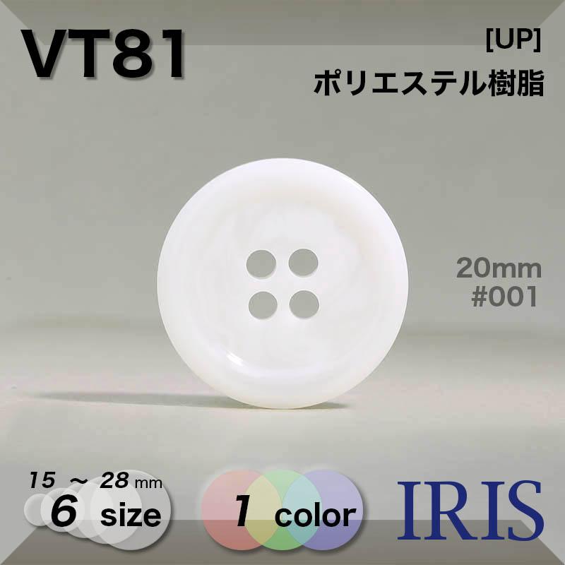 VT81 ポリエステル樹脂 表穴4つ穴ボタン  6サイズ1色展開