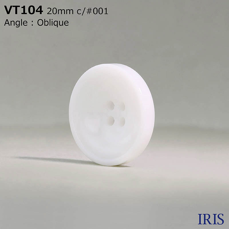 VT104 ポリエステル樹脂 表穴4つ穴ボタン  6サイズ1色展開