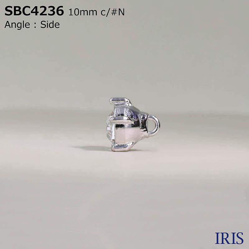 SBC4236 ガラス/ハイメタル 半丸カン足ボタン  1サイズ3色展開