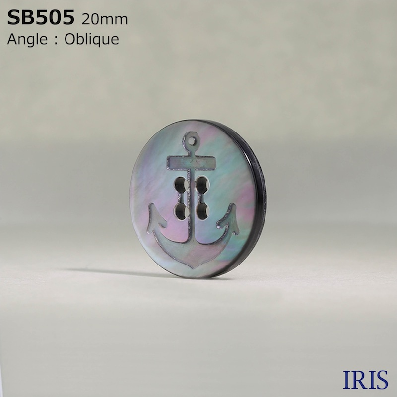 SB505 黒蝶貝 表穴4つ穴ボタン  6サイズ1色展開