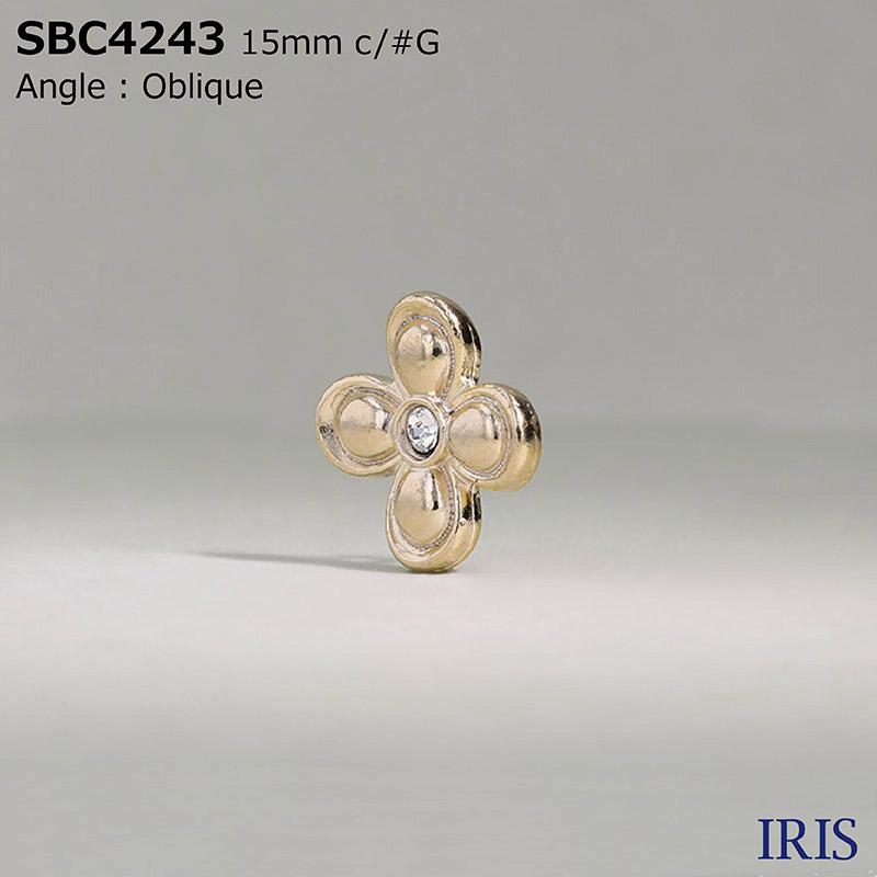 SBC4243 ガラス/ハイメタル 半丸カン足ボタン  2サイズ4色展開