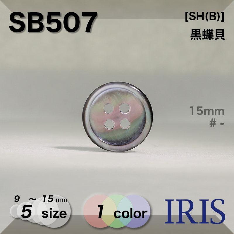 SB507 黒蝶貝 表穴4つ穴ボタン  5サイズ1色展開