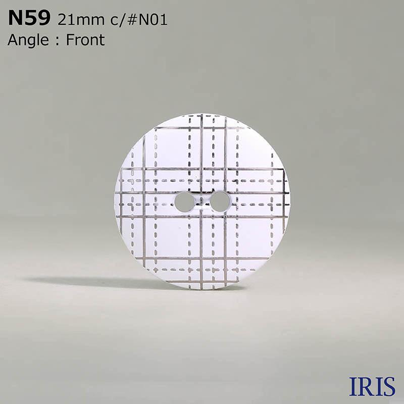 N59 ABS樹脂 表穴2つ穴ボタン  4サイズ2色展開
