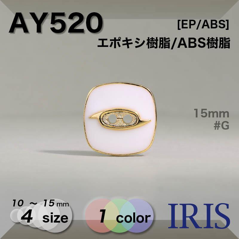 AY520 エポキシ樹脂/ABS樹脂 表穴2つ穴ボタン  4サイズ1色展開