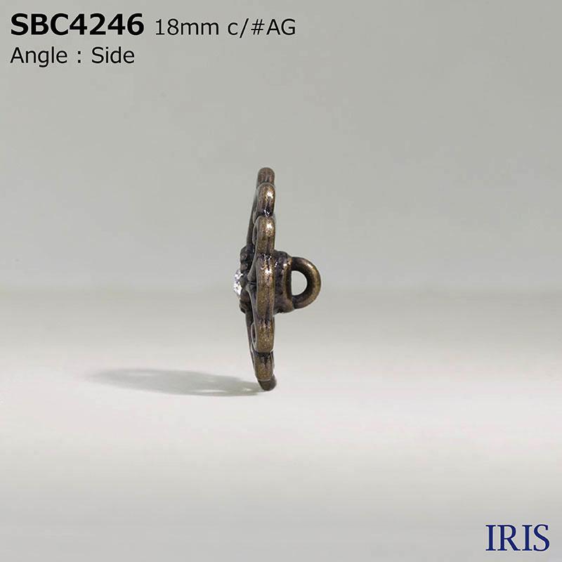 SBC4246 ガラス/ハイメタル 半丸カン足ボタン  3サイズ2色展開