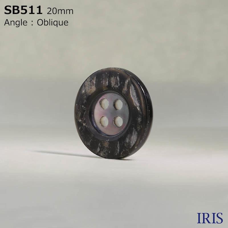 SB511 黒蝶貝 表穴4つ穴ボタン  5サイズ1色展開
