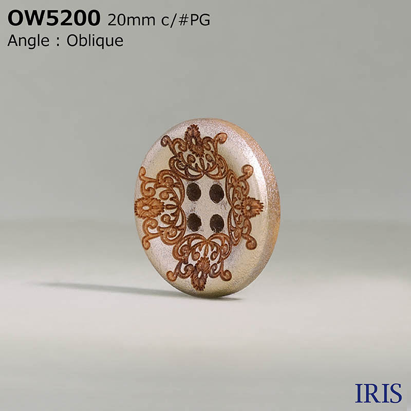 OW5200 木 表穴4つ穴ボタン  4サイズ2色展開