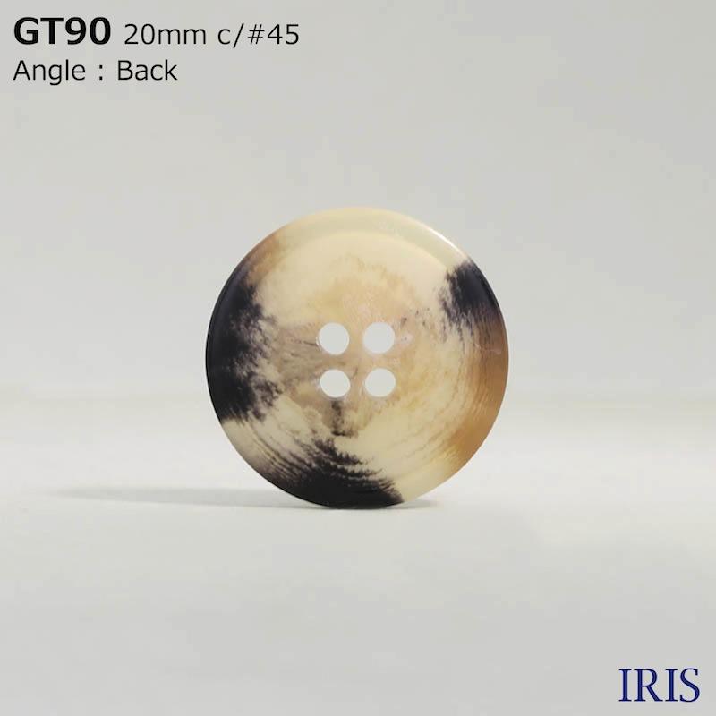 GT90 ポリエステル樹脂 表穴4つ穴ボタン  2サイズ7色展開