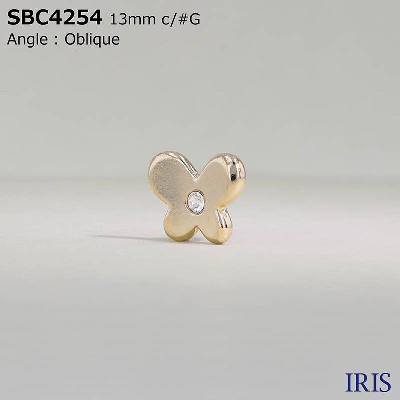 SBC4254 ガラス/ハイメタル 半丸カン足ボタン  1サイズ5色展開