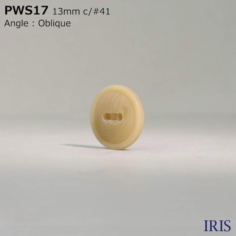 PWS17 ポリエステル樹脂 表穴2つ穴ボタン  2サイズ5色展開