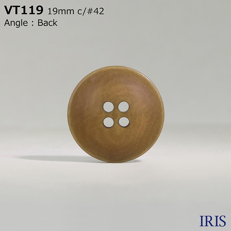 VT119 ポリエステル樹脂 表穴4つ穴ボタン  5サイズ8色展開