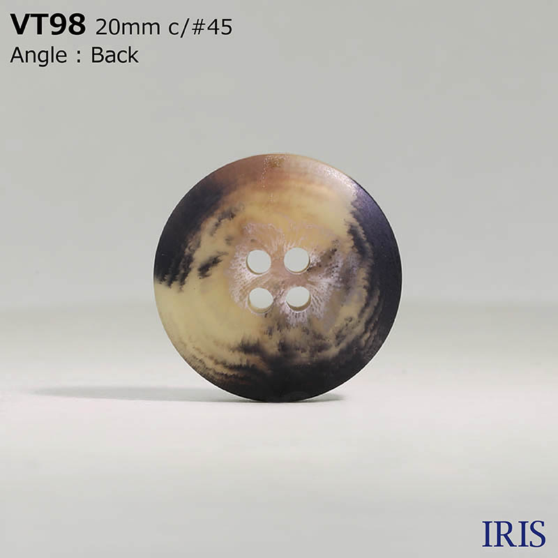 VT98 ポリエステル樹脂 表穴4つ穴ボタン  6サイズ5色展開