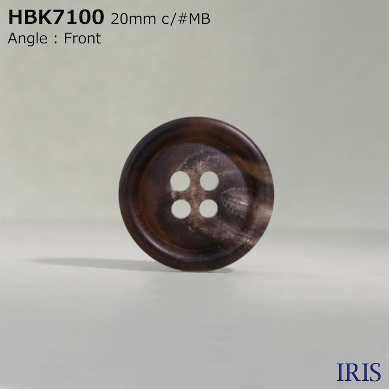 HBK7100 本水牛 表穴4つ穴ボタン  6サイズ5色展開