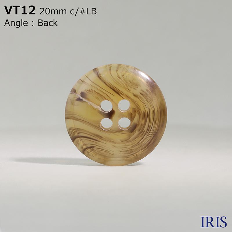 VT12 ポリエステル樹脂 表穴4つ穴ボタン  5サイズ8色展開
