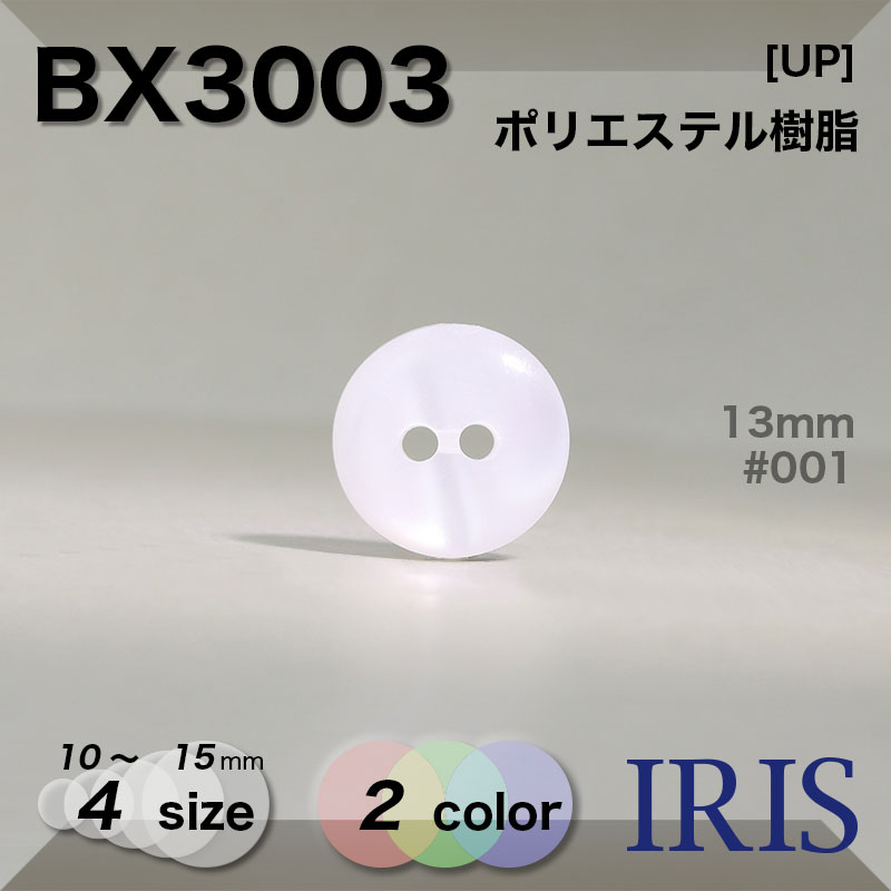 BX3003 ポリエステル樹脂 表穴2つ穴ボタン  4サイズ2色展開