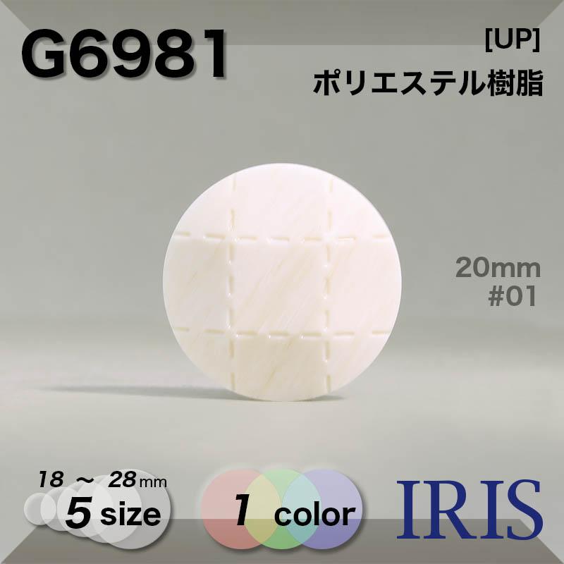 G6981 ポリエステル樹脂 トンネル足ボタン  5サイズ1色展開
