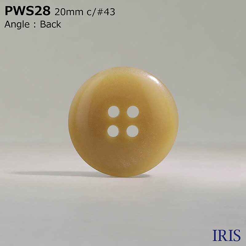 PWS28 ポリエステル樹脂 表穴4つ穴ボタン  4サイズ5色展開