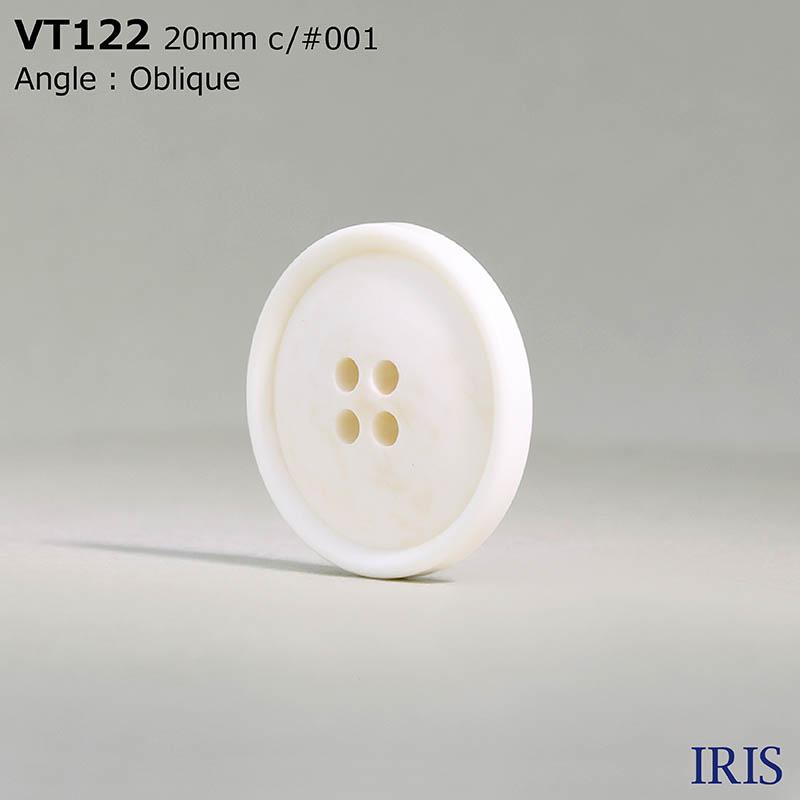 VT122 ポリエステル樹脂 表穴4つ穴ボタン  5サイズ1色展開
