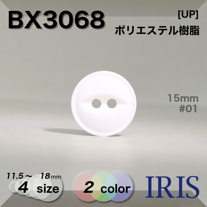BX3068 ポリエステル樹脂 表穴2つ穴ボタン  4サイズ2色展開