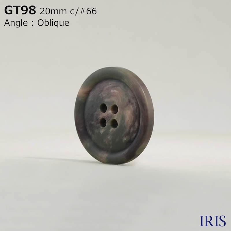 GT98 ポリエステル樹脂 表穴4つ穴ボタン  2サイズ1色展開