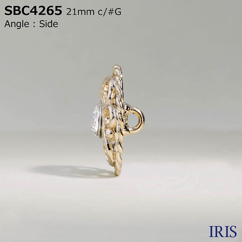 SBC4265 ガラス/ハイメタル 丸カン足ボタン  3サイズ3色展開