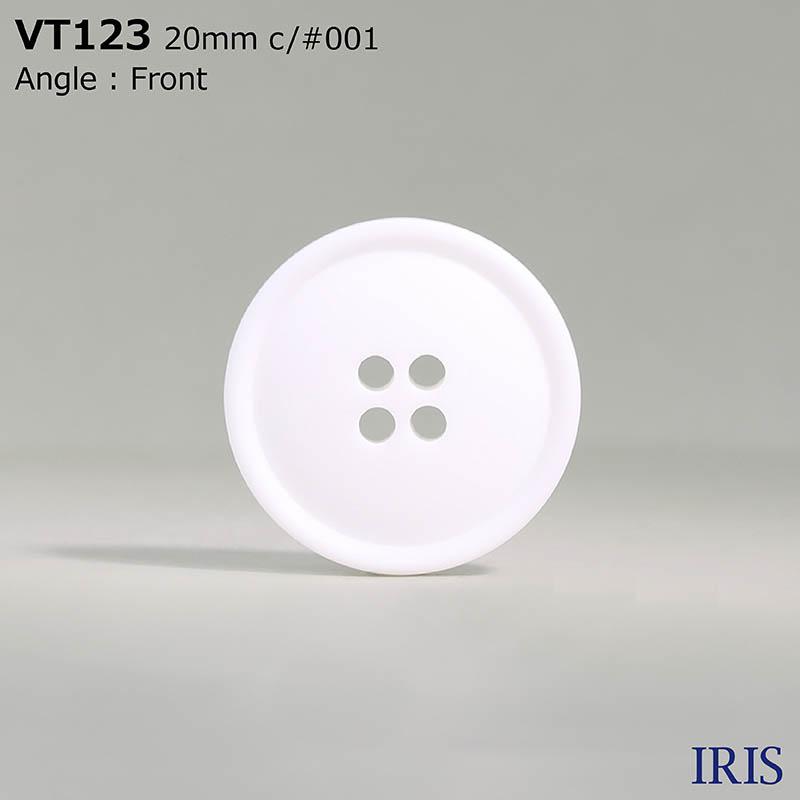 VT123 ポリエステル樹脂 表穴4つ穴ボタン  5サイズ1色展開