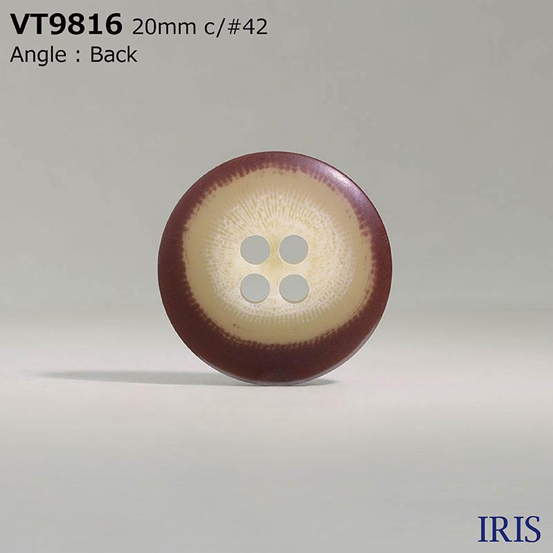 VT9816 ポリエステル樹脂 表穴4つ穴ボタン  6サイズ8色展開