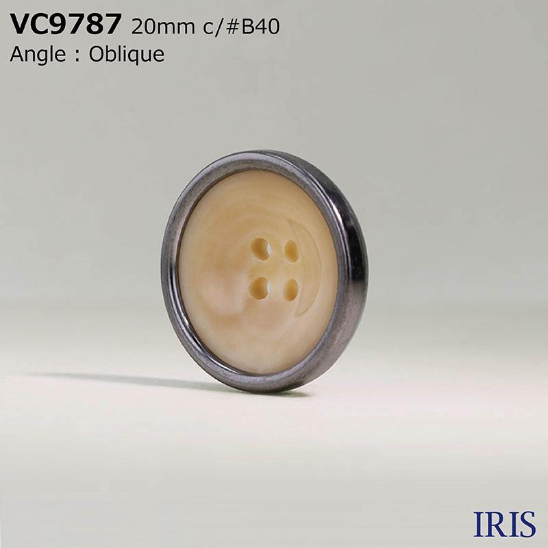 VC9787 ポリエステル樹脂/真鍮 表穴4つ穴ボタン  5サイズ6色展開