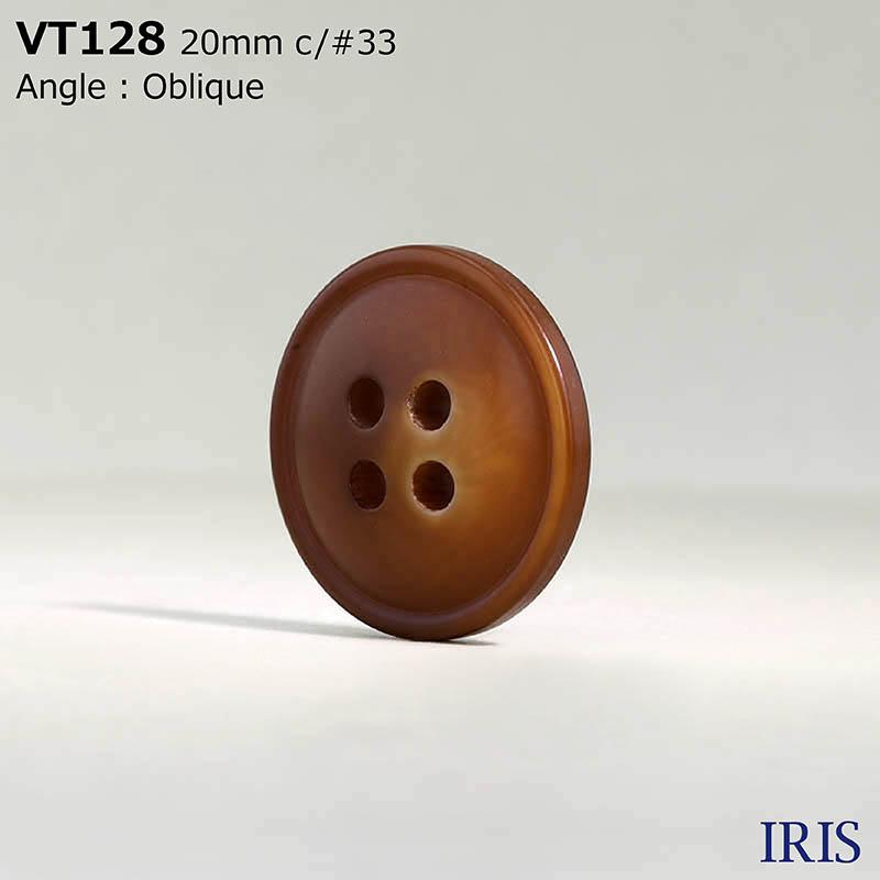 VT128 ポリエステル樹脂 表穴4つ穴ボタン  5サイズ8色展開