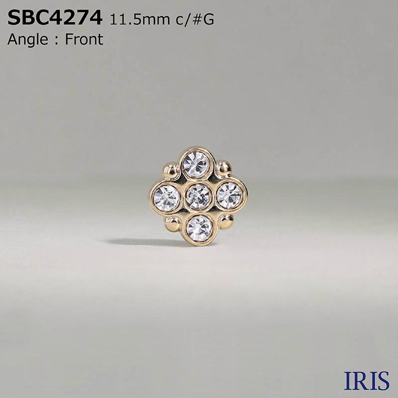 SBC4274 ガラス/ダイカスト 丸カン足ボタン  1サイズ2色展開