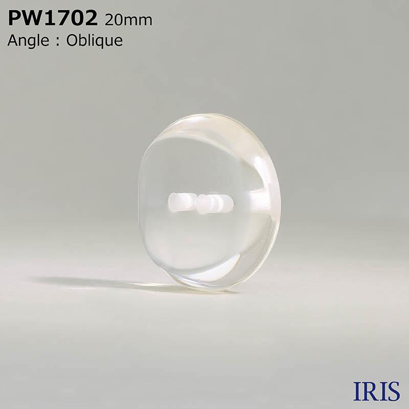 PW1702 ポリエステル樹脂 表穴2つ穴ボタン  5サイズ1色展開