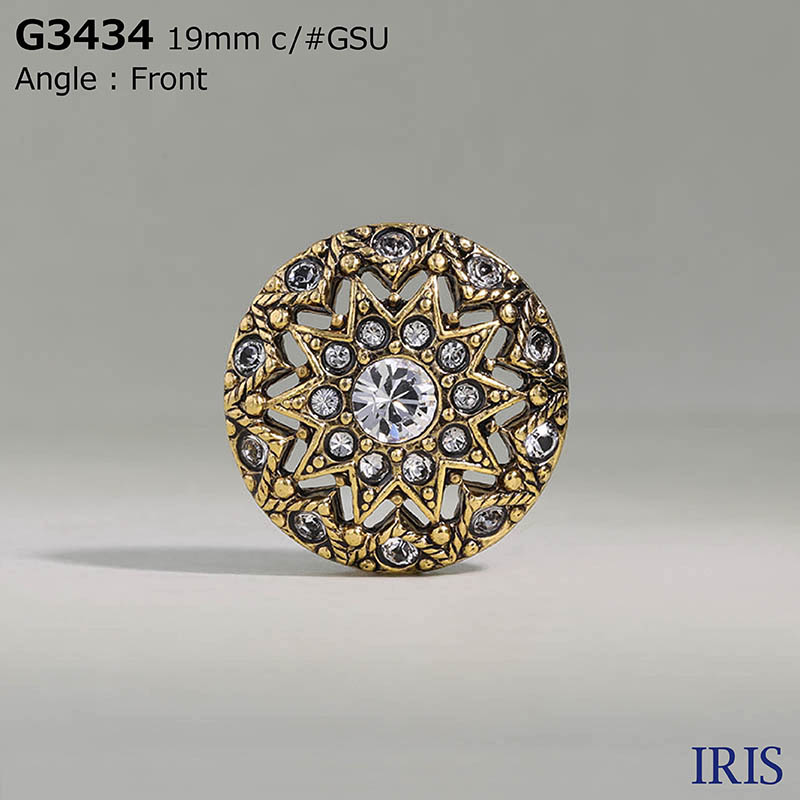 G3434 ガラス/キャスト 半丸カン足ボタン  4サイズ2色展開