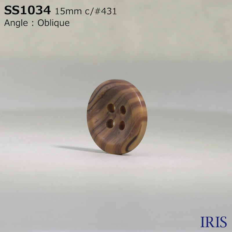 SS1034 ポリエステル樹脂 表穴4つ穴ボタン  3サイズ6色展開