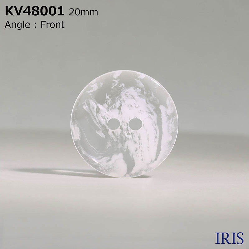 KV48001 ポリエステル樹脂 表穴2つ穴ボタン  7サイズ1色展開