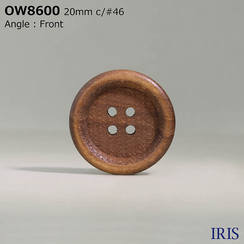 OW8600 木 表穴4つ穴ボタン  5サイズ4色展開