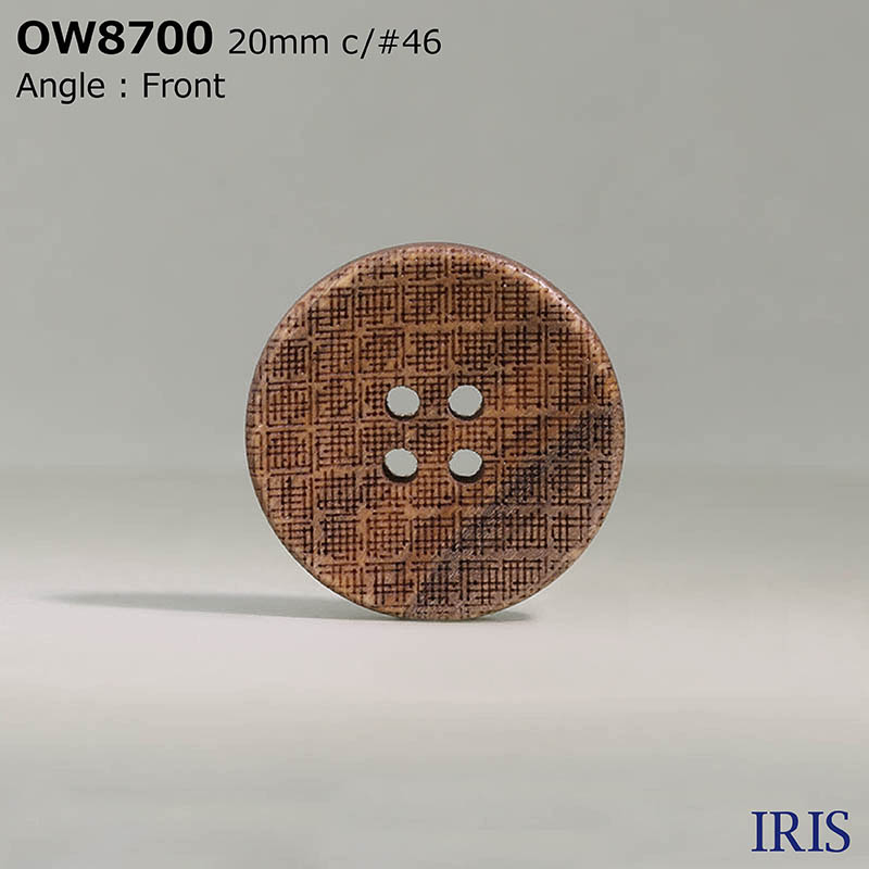 OW8700 木 表穴4つ穴ボタン  5サイズ4色展開