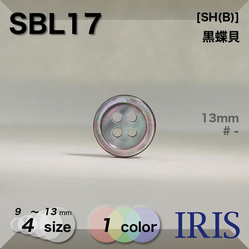 SBL17 黒蝶貝 表穴4つ穴ボタン  4サイズ1色展開
