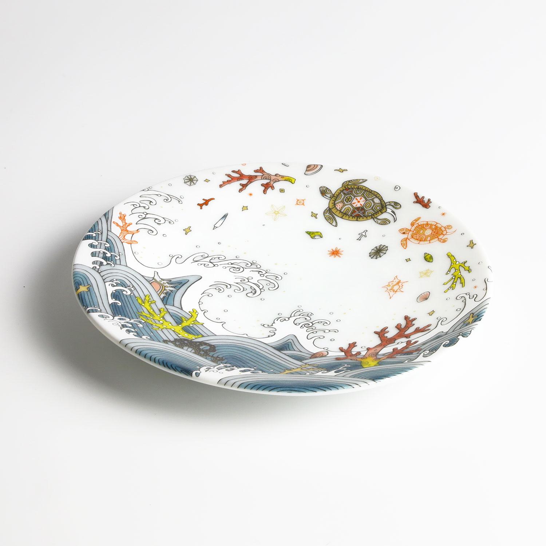 波と亀 小皿