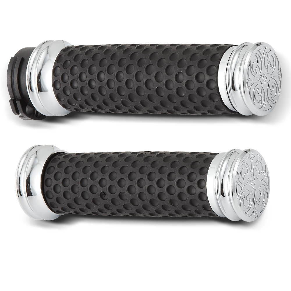 Engraved Soft-Touch Dimpled Grips-  Chrome&Black