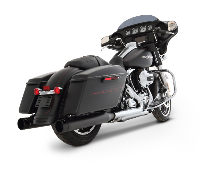 NEW 1995-2012 4 Inch Slip-on Muffler Black W/ CHROME END CAPS SKU: 500-0103c